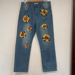 NWOT MissLook Jeans Painted Sunflowers 33x30.5 Lg